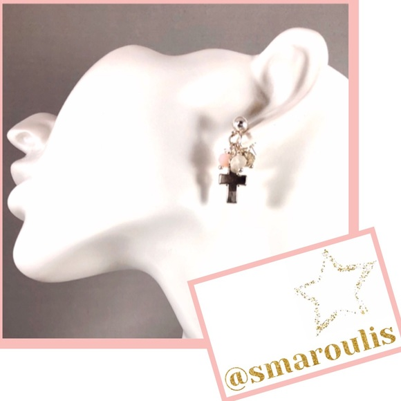 Frontrow.Style Jewelry - Sterling Silver Earrings Cross Trinity Beads